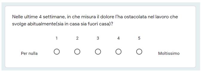 Esempio domanda su scala Likert
