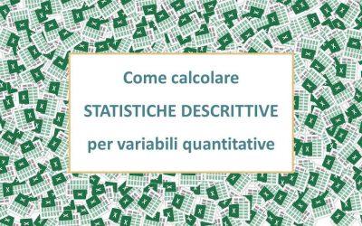 Analisi dati con Excel per variabili quantitative
